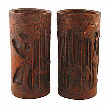 Chinese Qing period, pair of carved bamboo vases
