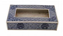 Chinese Qing period blue and white box of