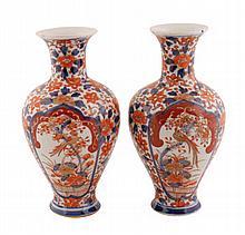 Pair nineteenth-century Imari vases each of