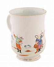 Eighteenth-century Chinese famille rose mug 15 cm.