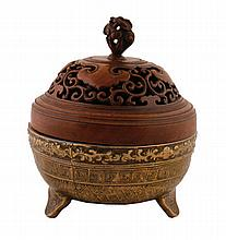 Chinese Qing period bronze censer with carved