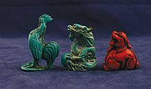 Group of three lacquered miniature animals Each 5