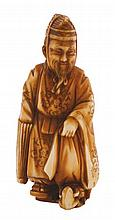 Meiji period ivory netsuke group of two figures 5