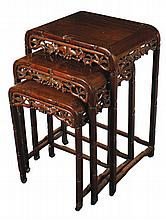 Chinese Qing period nest of three hardwood tables