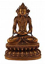 MIng period glit bronze Buddha seated in bajrasana