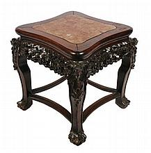 Qing period hardwood low table with marble inset