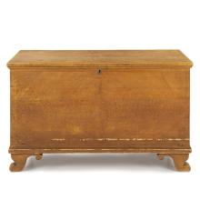 American Grain Painted Antique Blanket Chest on Scrolled Feet, Pennsylvania 1820