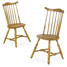 Pair of American Windsor Mustard Painted Fanback Side Chairs