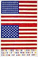 Double Flag, 1980 Ltd Ed Exhibition Poster, Jasper Johns