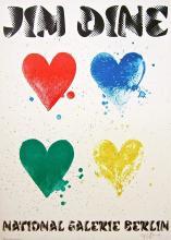 Four Hearts, 1971 Exhibition Poster, Jim Dine