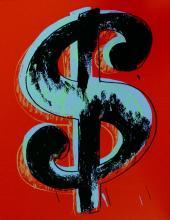 Dollar Sign Red (Sunday B. Morning), Ltd Ed Silk-screen, Andy Warhol