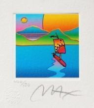Sailboat w/ Sun & Moon, Ltd Ed Litho (Mini 3.5