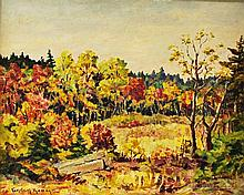 Parker Gamage (Maine, 1882-1960)  Last of the Autumn Leaves. Signed l.l. Oil on board, 15 3/4 x 19 3/4 in., framed.