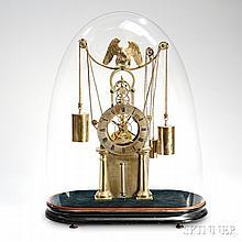 Simon Willard Jr. Brass Skeleton Clock, Boston, Massachusetts, or New York City, c. 1825-35, the skeletonized thirty-hour timepiece wit