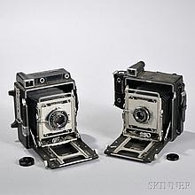 Two Crown Graphic Cameras, Rochester, New York, c. 1955, both 4x5, one with a side mounted Kalart rangefinder and a 90mm f/6.8 Optar le
