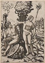 Marcantonio Raimondi (Italian, c. 1480-1527), After Andrea Mantegna (Italian, 1431-1506)  Mars, Venus, and Eros,...