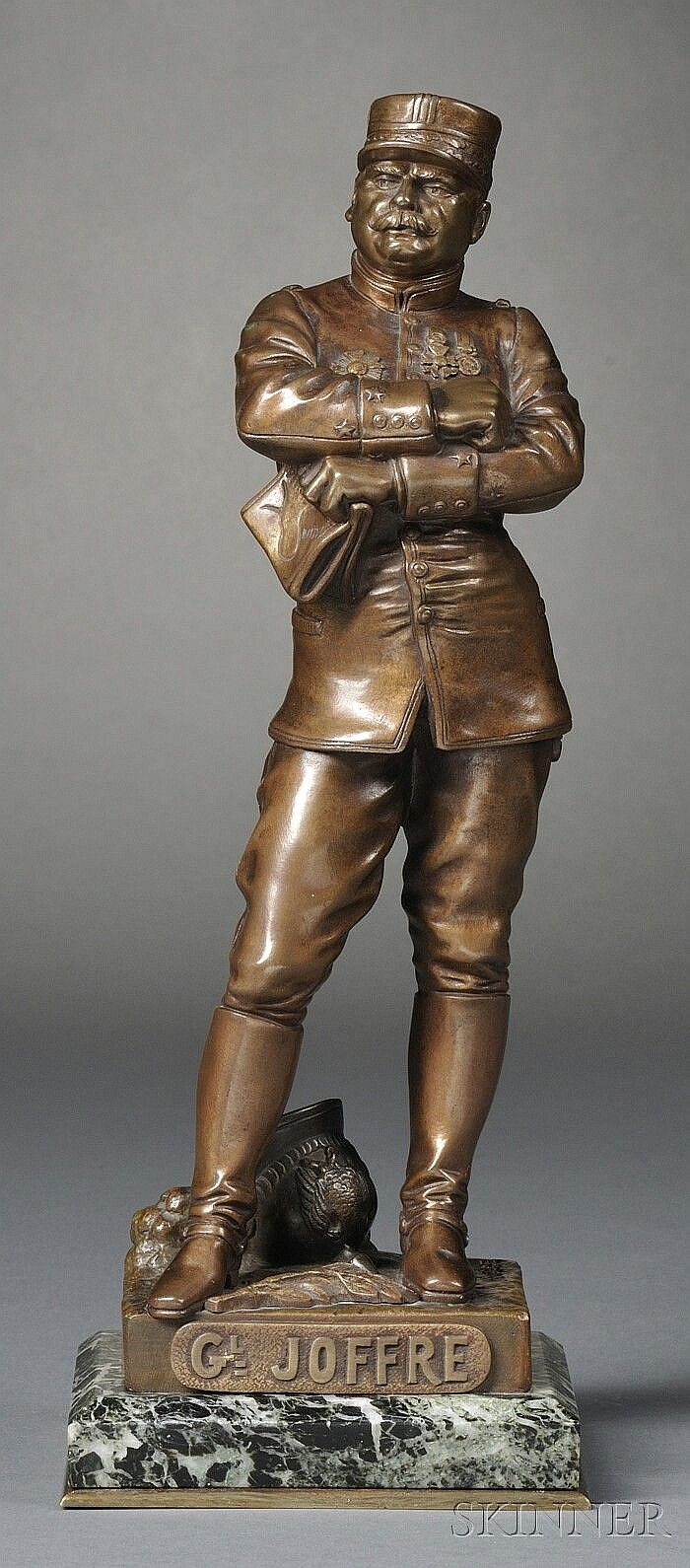 Henri Fugère (French, 1872-1944), Gilt Bronze Figure of French General Joseph Joffre,, , the standing figure with arms crossed and hold