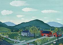 Maxwell Mays (American, 1918-2009), Folk Art Farm, Signed and dated
