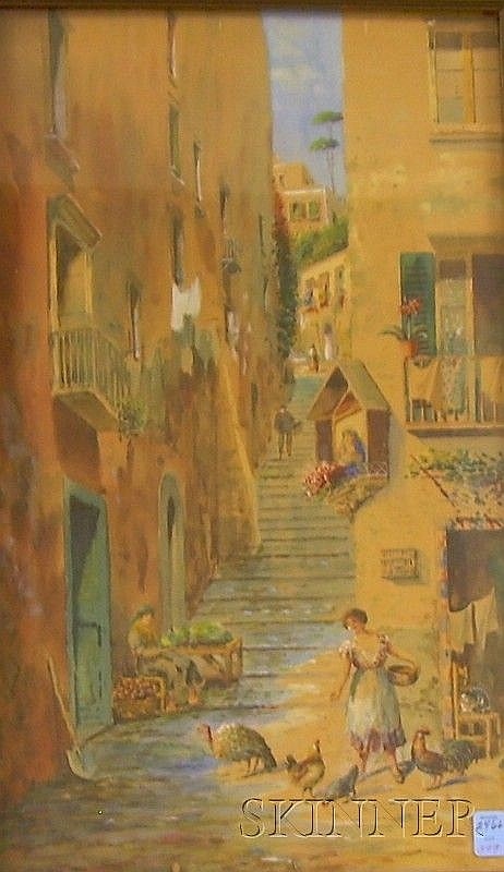 Attributed to Alessandro Altamura (Italian, 1855-1918), View of an Alley with a Woman Feeding the Chickens, Signed