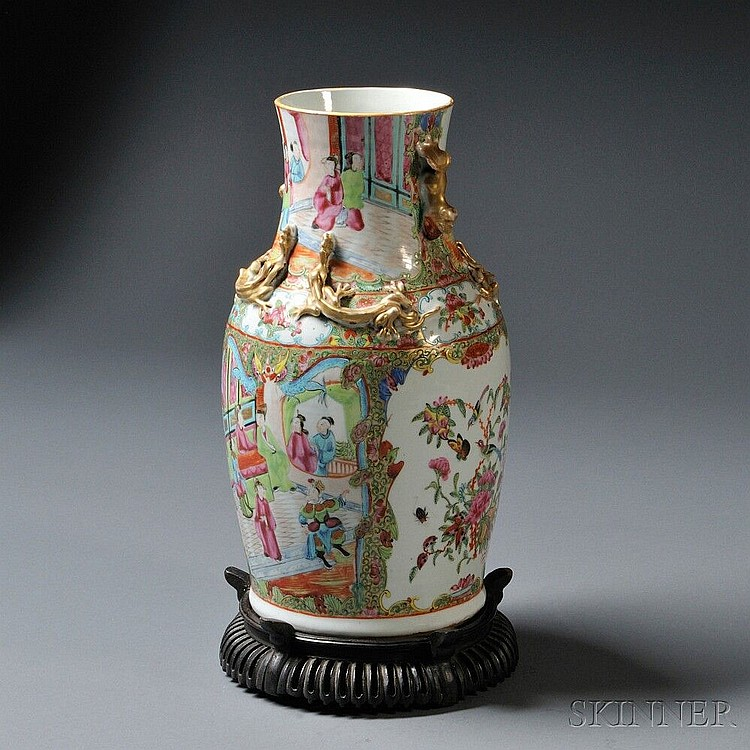 Export Rose Medallion Vase, China, 20th century, baluster-form, decorated with cartouches depicting court figures alternating with pane