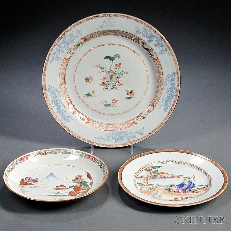 Three Export Porcelain Plates, China, 19th century, depicting landscapes and floral motifs, dia. to 12 1/2 in.