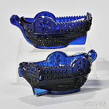 Two Blue Pressed Glass Boat Pattern Open Salts, Stourbridge Flint Glass Works, Pittsburgh, Pennsylvania, c. 1835-45, including a medium