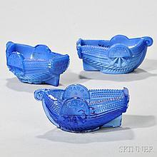 Three Blue Pressed Glass Boat Pattern Open Salts, Boston & Sandwich Glass Company, Sandwich, Massachusetts, c. 1835-45, including an op