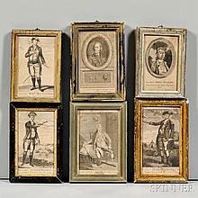 Six 18th Century Engravings of Military and Political Figures, John Norman (c. 1748-1817), engraver, Boston, c. 1781, each portrait sig