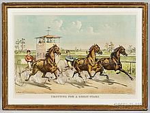 Currier & Ives, publishers (American, 1857-1907)  Trotting for a Great Stake, c. 1890 (Conningham, 6171). Titled and credited below ima