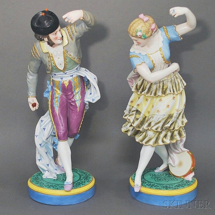 Pair of Large Bisque Porcelain Spanish Folk Dancer Figures, ht. 18 in.
