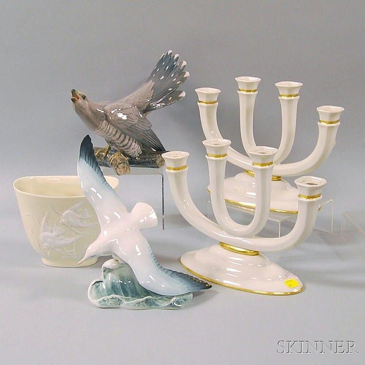 Four Pieces Rosenthal Porcelain and a Bing & Grondahl Porcelain Bird Figurine, Rosenthal pieces including a pair of four-light candleho