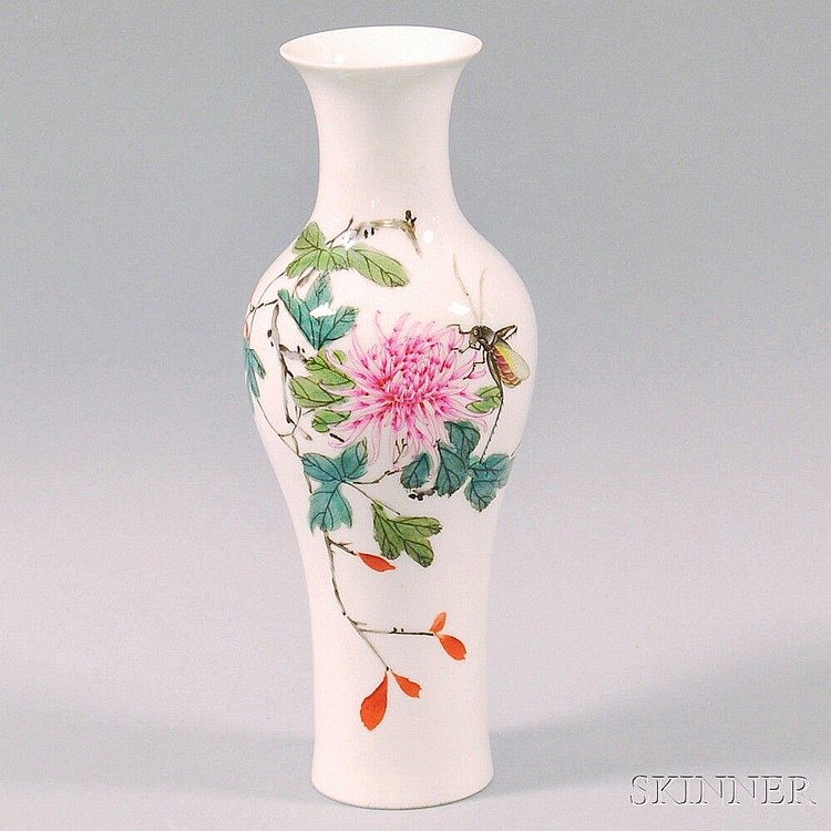 Chinese Hand-painted Porcelain Vase, decorated with a chrysanthemum blossom and an insect, ht. 9 1/8 in.