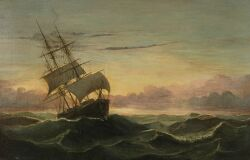 Mary Blood Mellen (American, b. 1817) Three Master in Rough Seas Unsigned.  Oil on canvas,
