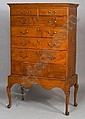 Queen Anne Maple Chest-on-Frame, probably southeastern New England, last half  18th century, the flat molded cornice above a case of two