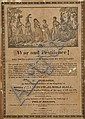 (American Indian), Broadside entitled War and Pestilence! Two Young Ladies Taken Prisoners by the Savages, [1832], depicting a woodc...