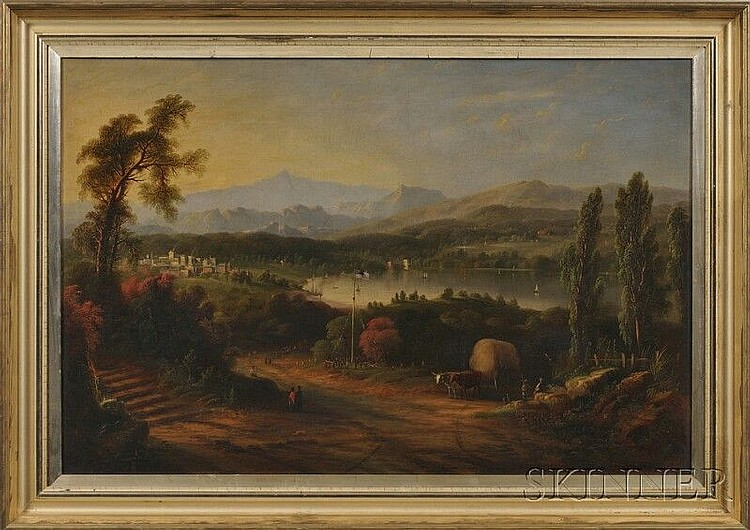 Edmund C. Coates (New York, 1816-1871) Celebration Around the Flagpole at Winnipesaukee Lake, Meredith, New Hampshire. Signed and dated