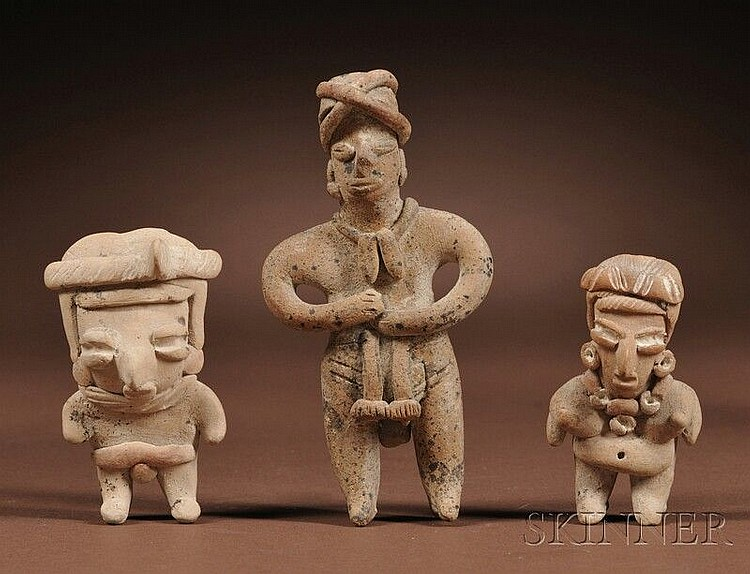 Three Chupicuaro Pottery Figures, Mexico, c. 500-400 B.C., standing figures with coffee bean eyes and modeled details, ht. to 4 in.