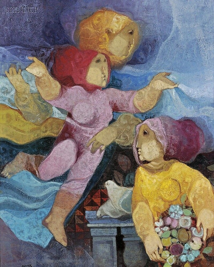 Sunol Munoz Ramos Alvar (Spanish, b. 1935) Women with Doves Signed