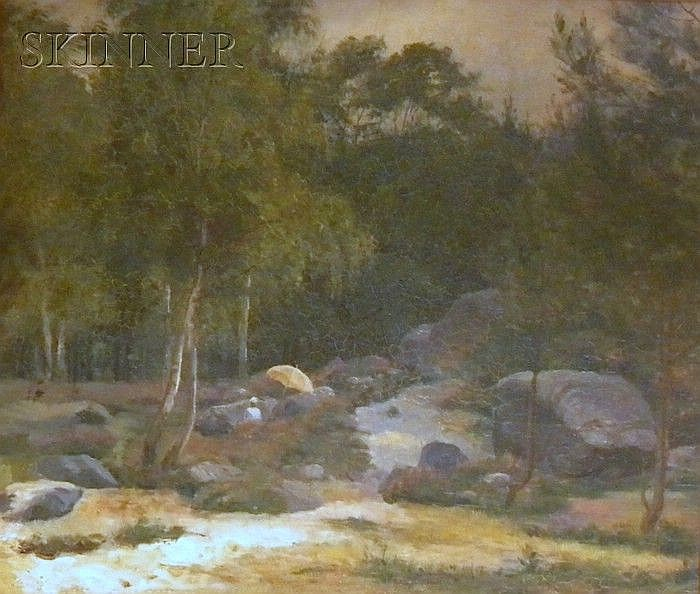 Attributed to Joseph Morviller (American, 1800-1870) Landscape with Figure Beneath a Parasol Unsigned, inscribed