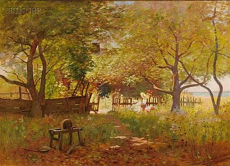 Daniel François Santry (American, 1858-1915) Backyard Wildflowers, Duxbury Signed