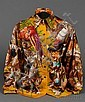Lady's Silk Blouse, Hermes, depicting the bounties of a hunt, size 40.