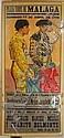 J. Garcia Moya Lithograph Plaza Toros De Malaga Bullfighting Poster, Spain, c. 1936, 64 1/4 x 30 in.