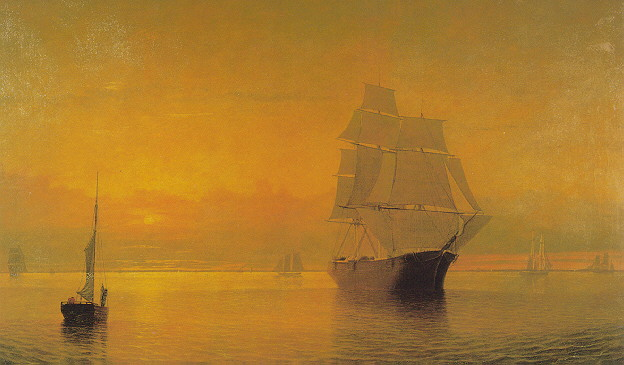 FITZ HUGH LANE (AMERICAN, 1804-1865) SUNSET AT GLOUCESTER HARBOR