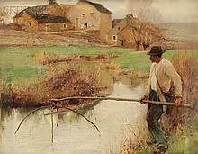Jules Alexis Muenier (French, 1863-1942), The Fisherman, Signed