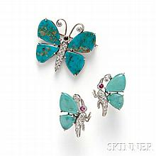 Turquoise and Diamond Suite, the butterflies with turquoise wings, pave-set diamond diamond bodies, and ruby accents, white metal mount
