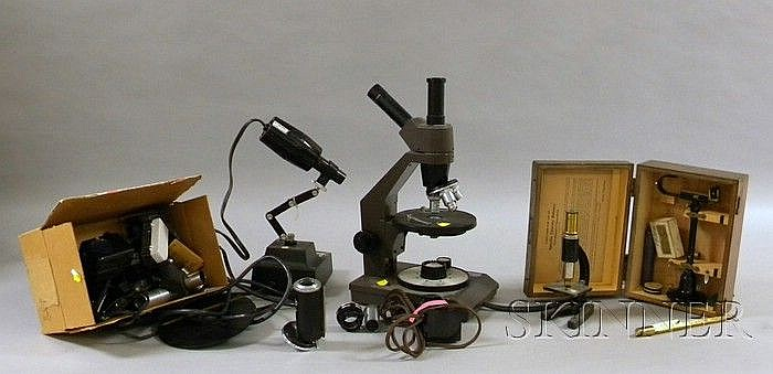 Swift Instruments Collegiate 400 Microscope, a Specific Gravity Balance and a Group of Components, the iro...
