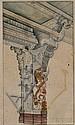 Company School Miniature, India, 19th century, study of a temple column, stone pillar at Madura, unframed, 15 1/2 x 9 in.