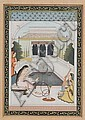 Indian Miniature Painting, ink, colors, and gilt on paper, a scene of a woman smoking a hookah, framed and glazed, 8 x 5 1/2 in.