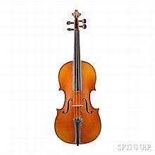 Modern French Violin, JTL Workshop, Mirecourt, labeled JEAN BAPTISTE VUILLAUME A PARIS, length of back 358 mm.