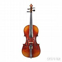 German Violin, labeled ANTONIUS STRADIVARIUS, branded CONSERVATORY VIOLIN on back of scroll, repair label CHARLES W. GRAY BRISBEN, NEW